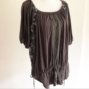 Free People oversized loose fit boho top. XS